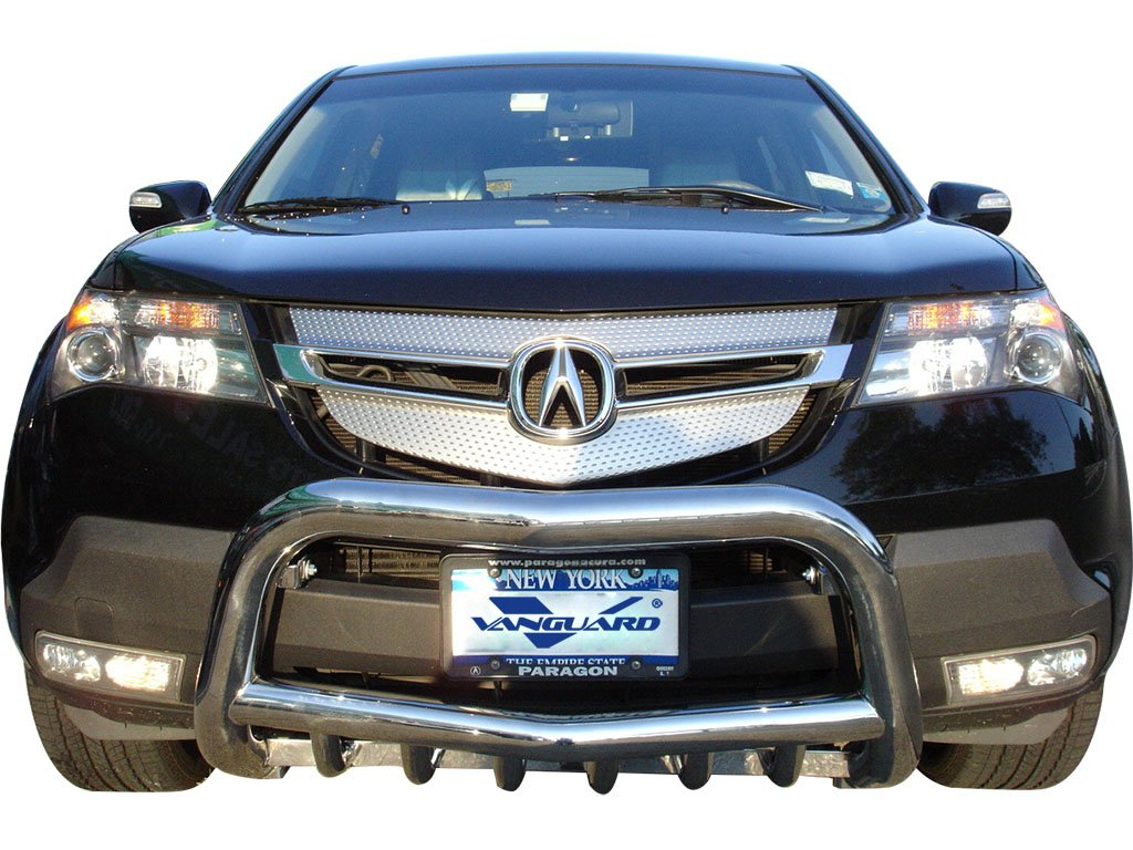 Vanguard VGUBG-0292SS Compatible with Acura MDX 2007-2009 Bumper Guard Stainless Steel Bull Bar with Tube Skid Plate