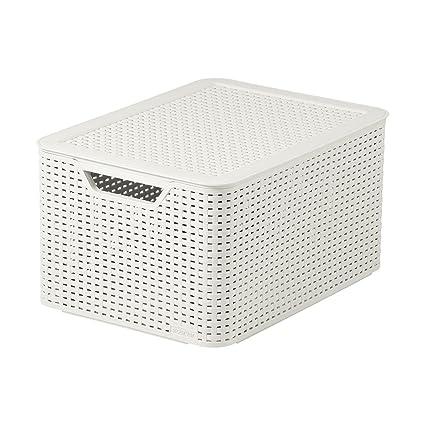 Curver Style, Caja Organizadora Con Tapa, Blanco Vintage, L (30 L -
