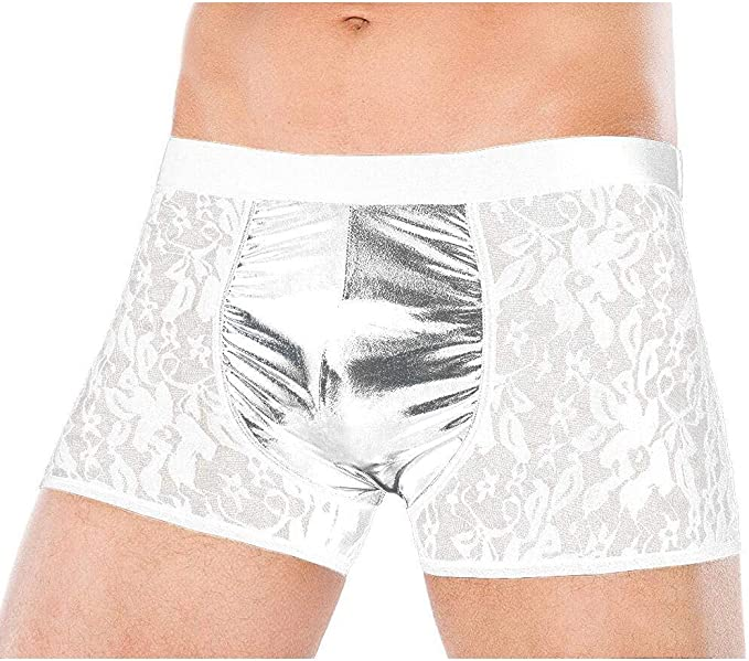 Herrenslips Mesh Striped Boxershorts  Dessous Transparent Unterhose Unterwäsche
