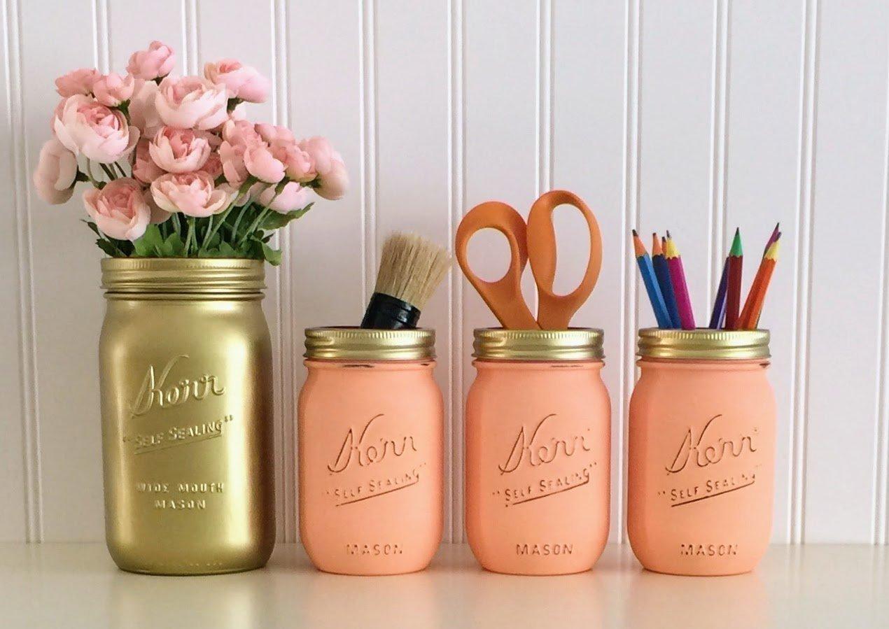 Mason Jar Desk Décor, 4-Piece Set, Gold And Peach Office Accessories, Makeup Organizer, Vanity Set Mason Jar Desk Décor