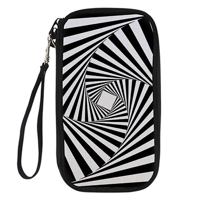 Amzbeauty US Passport Holder Black White Style Waterproof Zipper Travel Wallet