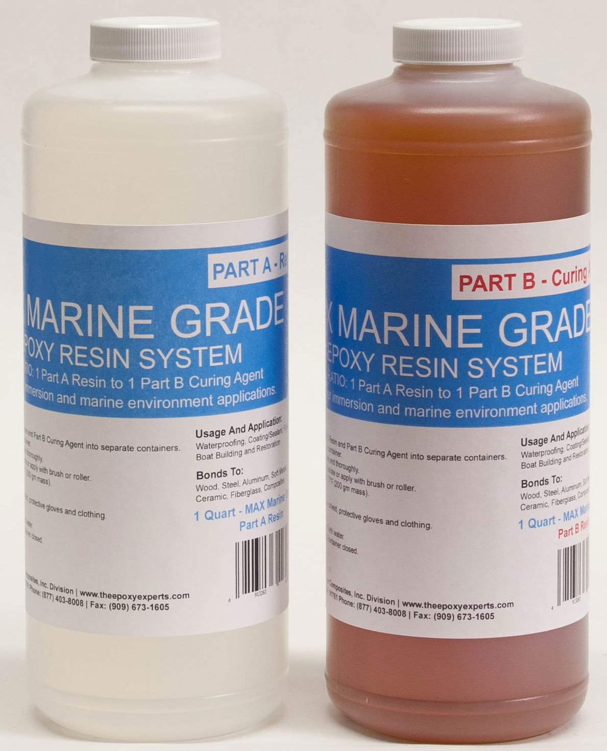 MAX MARINE GRADE Epoxy Resin System - 1/2 Gallon Kit - Wood Sealing, High Strength Fiberglassing Marine Applications, Composite Fabricating Resin