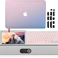 "GMYLE - Carcasa rígida para MacBook Air de 13 pulgadas A1932, protector de visualización y protector de teclado, 5 in 1 Gradient Rose Quartz & Serenity Blue Logo Cutout Protection Kit, MacBook Air 13"" (A1369/A1466)"