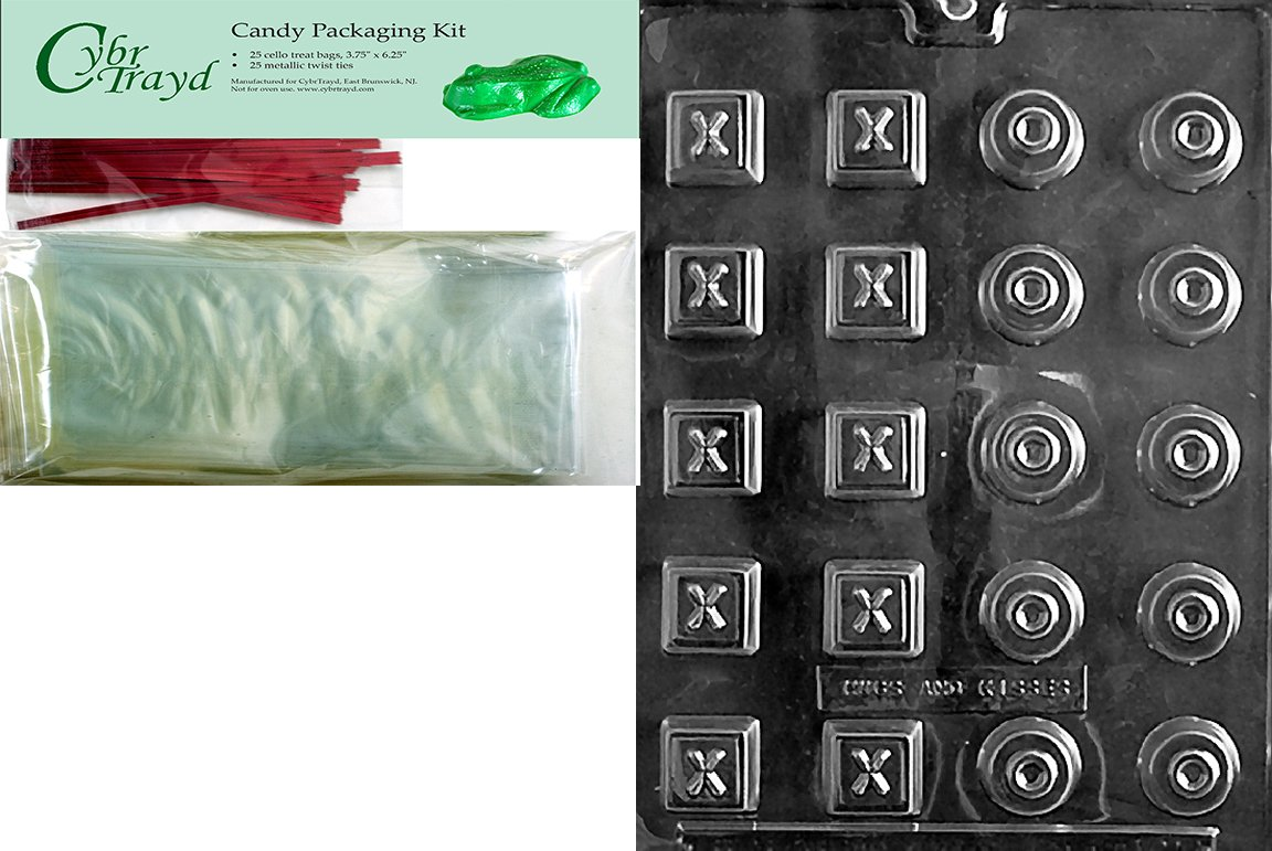 Cybrtrayd Mdk25R-V119 Hugs and Kisses Valentine Chocolate Candy Mold with Packaging Bundle Chocolate Molding Instructions 25 Red Twist Ties Includes 25 Cello Bags