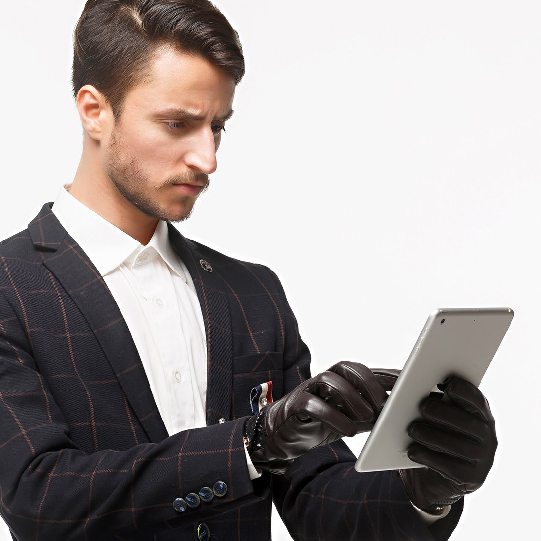 Nappaglo Mens Genuine Lambskin Leather Gloves Nappa Leather Touchscreen Autumn Winter Business Mittens