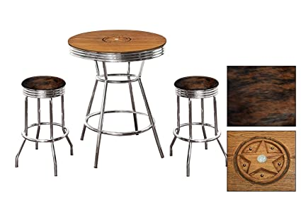 Custom Oak Bar Table Set Features A Liberty Coin Inset With Glass Top And 2
