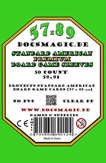 50 Docsmagic.de Premium Standard American Board Game Sleeves 57 x 89 59 US