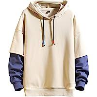 GURUNVANI Fashion Hoodies Men's Color Block Pullover O-Neck Hooded Sweatshirt Patchwork