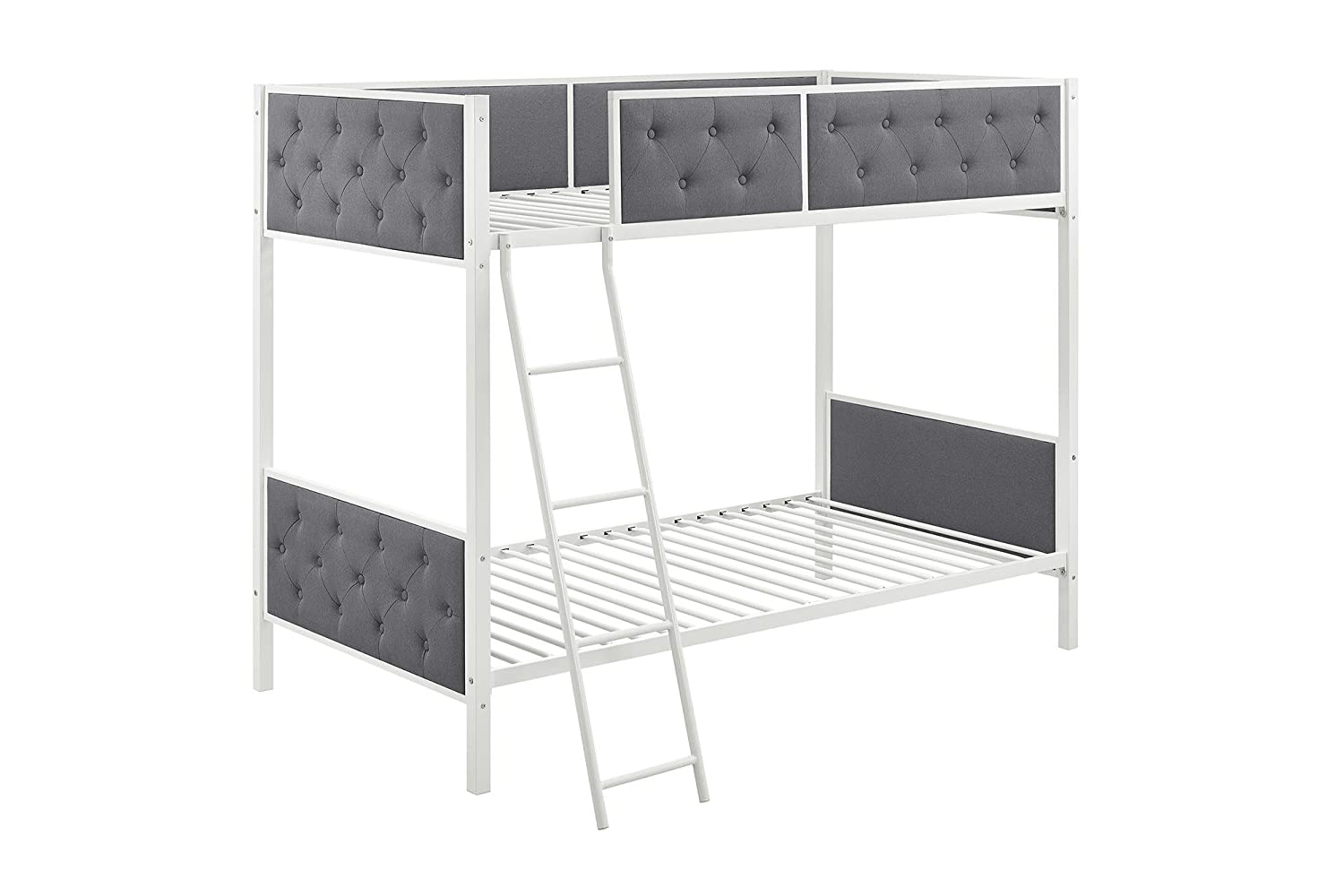 DHP Chesterfield Upholstered Linen Bunk Bed, Twin Size - White Metal/Grey Upholstery Dorel Home Furnishings 4065119