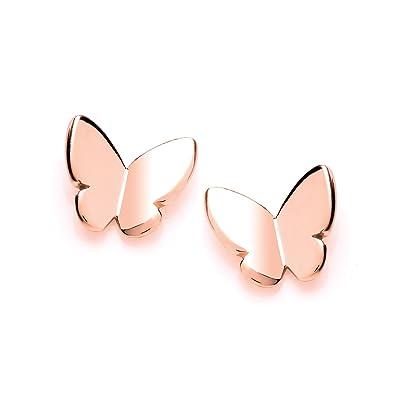 5d03954aea11a Simple Rose Gold Butterfly Stud Earrings: Amazon.co.uk: Jewellery