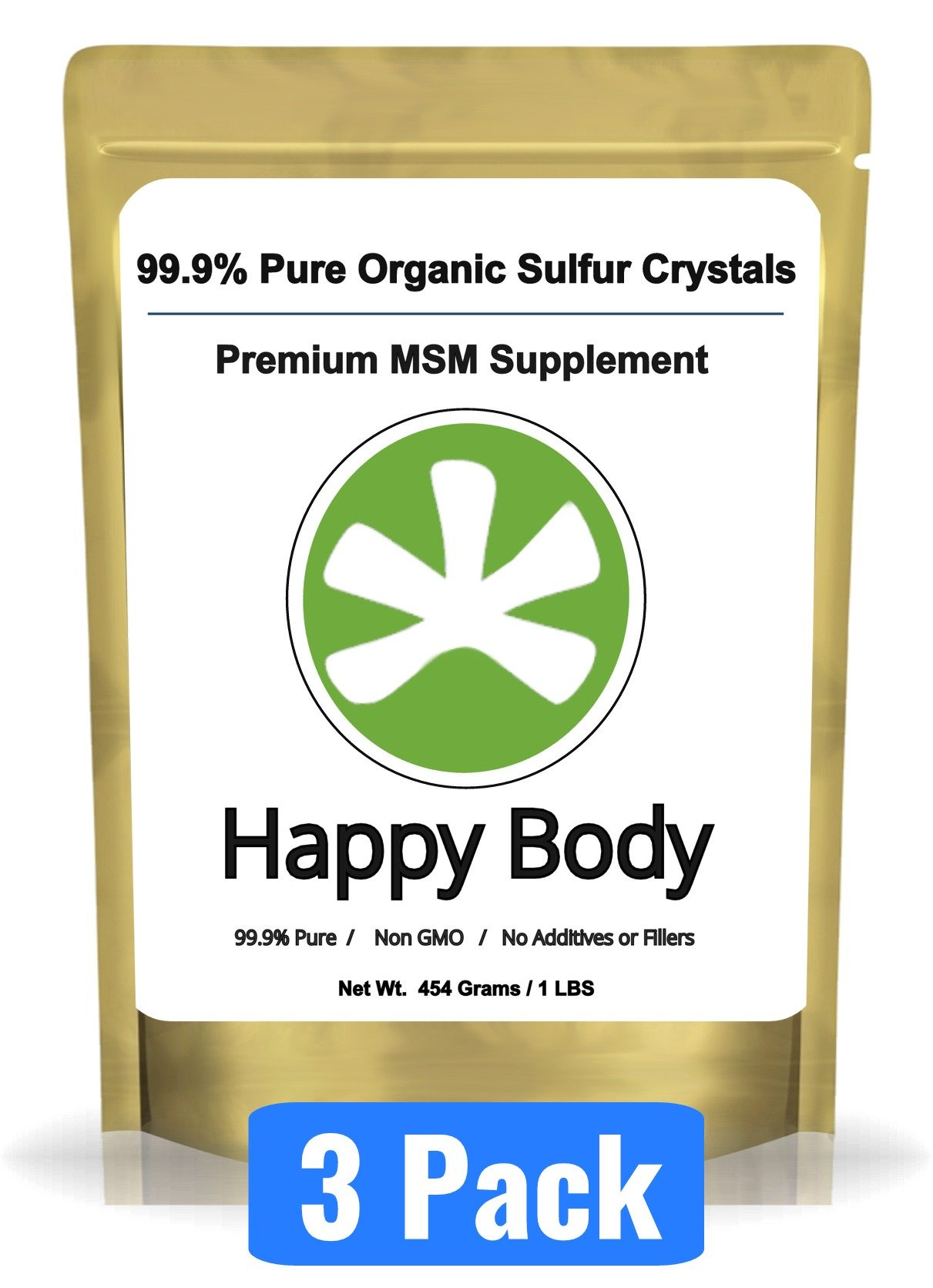 Organic Sulfur Crystals - 99% Pure MSM Crystals, Premium MSM Supplement - 3 x 1 LBS Pack