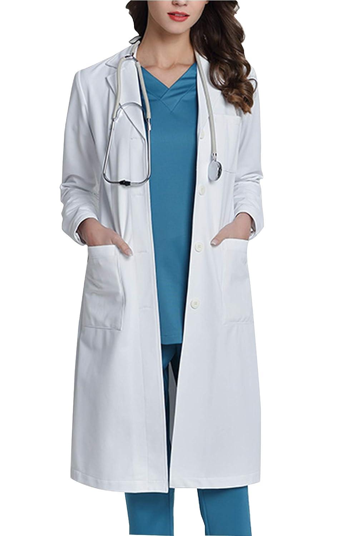 WWOO Mujer Bata de Laboratorio Blanco Bata de Médico Uniforme Sanitario Ropa de Trabajo Actualización de la Tela: Amazon.es: Ropa y accesorios