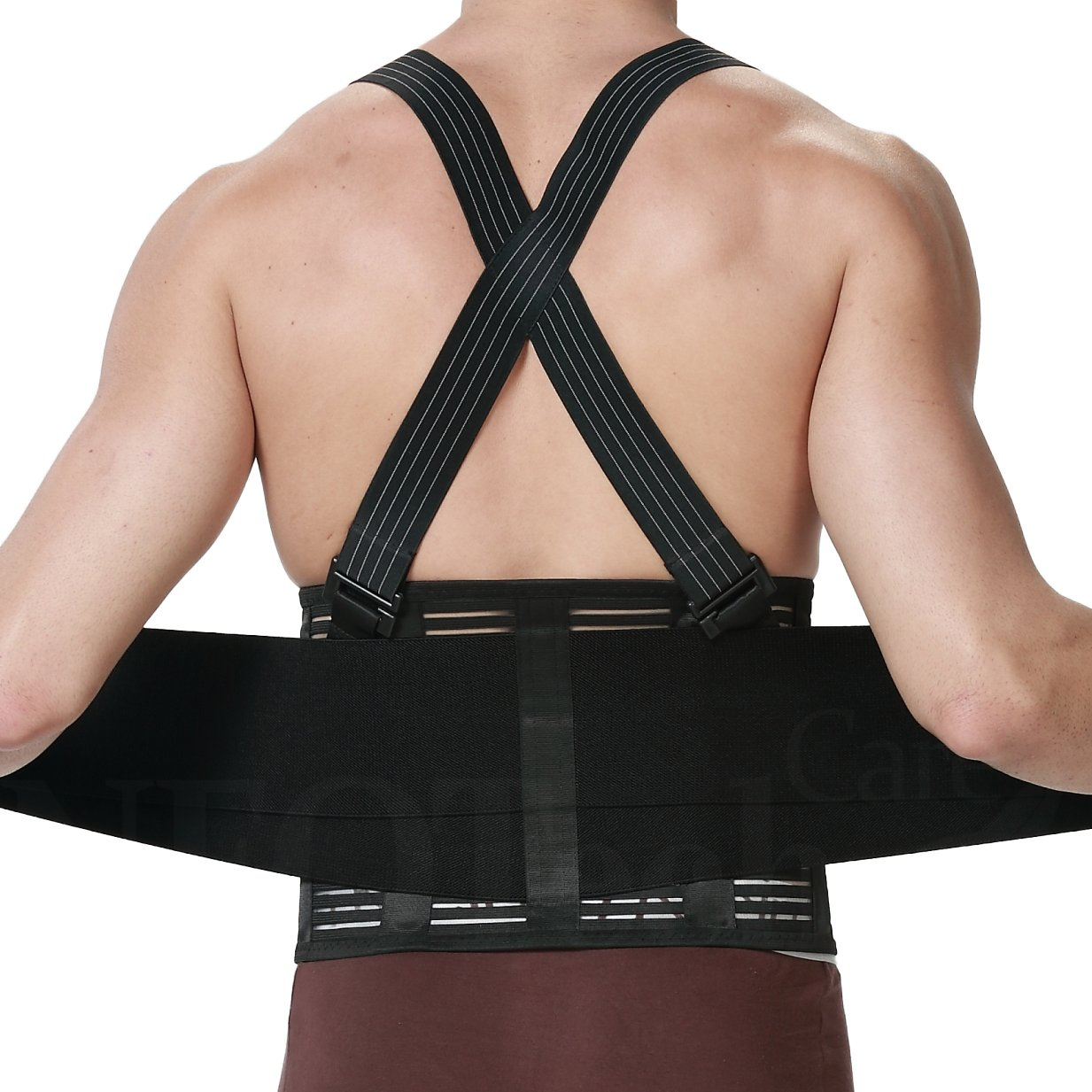 Back Brace with Suspenders for Men - Adjustable - Removable Shoulder Straps - Lumbar Support Belt - Lower Back Pain, Work, Lifting, Exercise, Gym - Neotech Care Brand - Black - Size S