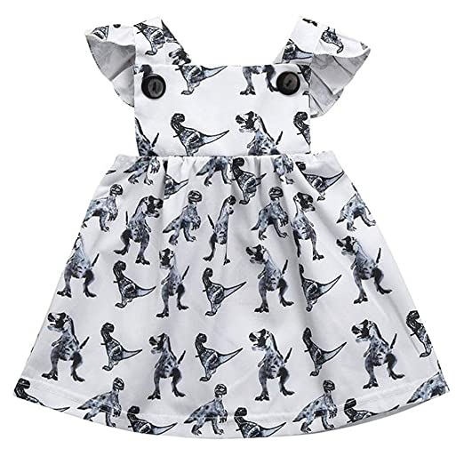 269b014f4 Fozerofo Toddler Baby Girl Dinosaur Party Dress Ruffle Sleeve Holiday Dress  Outfit Clothes Baby Girls