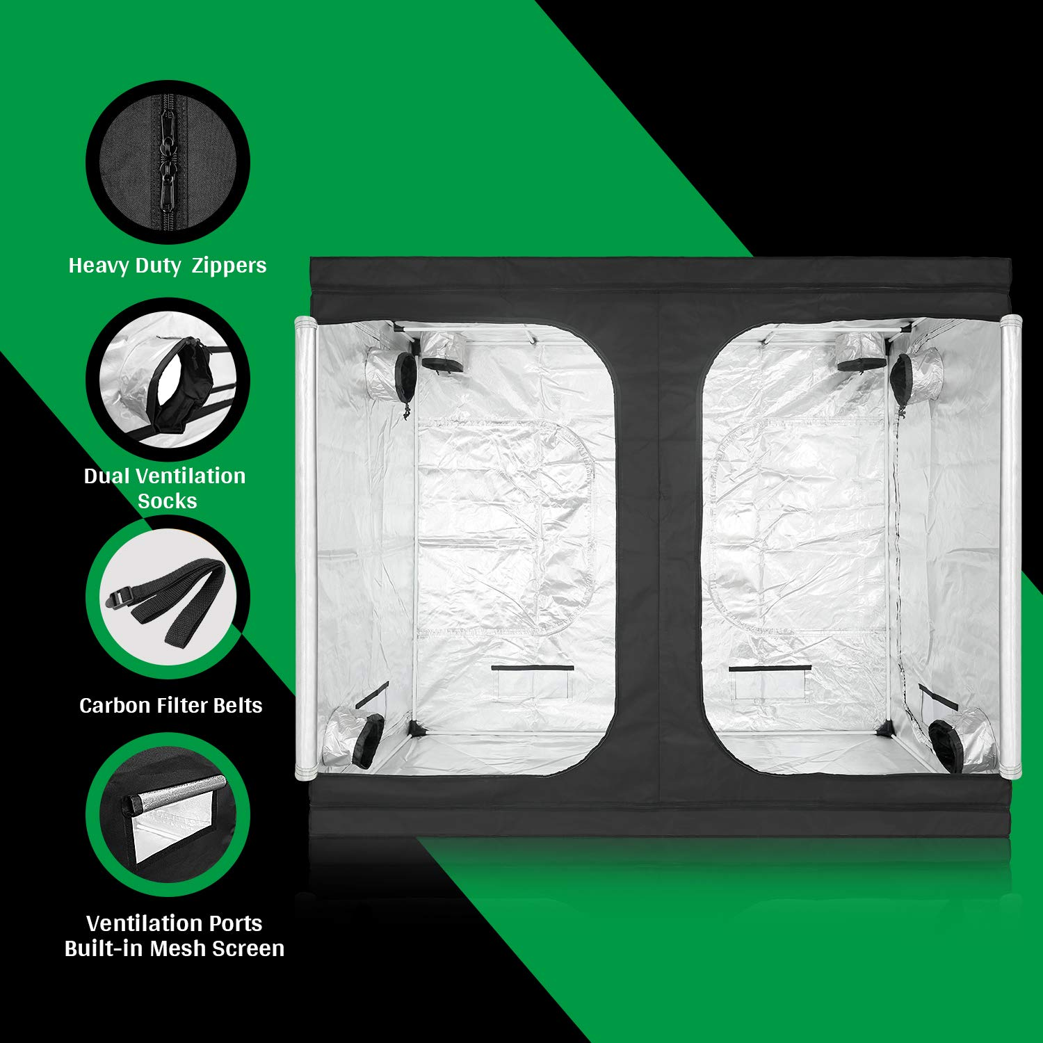 240x120x200 CM GA Grow Tent 96x48x80 240X120X200 CM C-Series Reflective Mylar Hydroponic Grow Tent with and Waterproof Floor Tray for Indoor Plant Growing 8x4