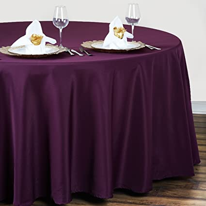 BalsaCircle 120 Inch Eggplant Purple Round Polyester Tablecloth Table Cover  Linens For Wedding Party Events