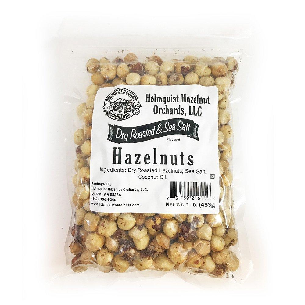 Holmquist Hazelnuts Dry Roasted Hazelnuts | Sea Salt | Skins Mostly Removed | 1 LB Bag by Holmquist Hazelnuts