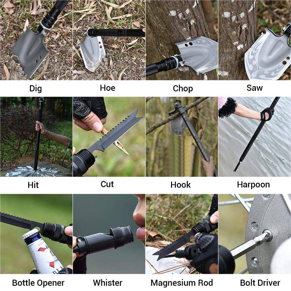 DONGKER Folding Shovel Military Survival Shovel Multitool Portable Tactical Entrenching Tool Compact Backpacking for Hunting, Camping, Hiking, Fishing, Gardening Car Emergency, 33''&19'' (Black-L) by DONGKER (Image #6)