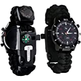 Survival Bracelet Watch, Men & Women Emergency Survival Watch with Paracord/Whistle/Fire Starter/Scraper/Compass and Thermometer, 6 in 1 Multifunctional Outdoor Gear