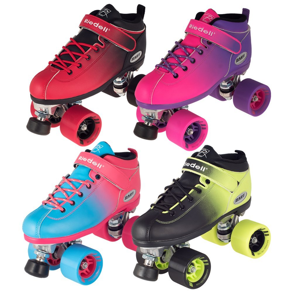 Riedell Quad Roller Skates - Dart Ombre- Fade Color (Purple-Pink Fade, Size 1) by Dart Ombre