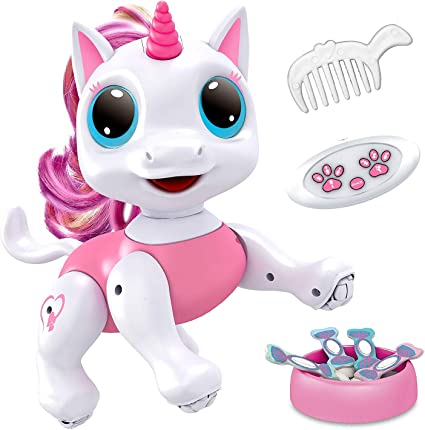 Amazon Com Power Your Fun Robo Pets Unicorn Toy For Girls And Boys Remote Control Robot Pet Toy With Interactive Hand Motion Gestures Walking And Dancing Robot Unicorn Kids Toy Toys