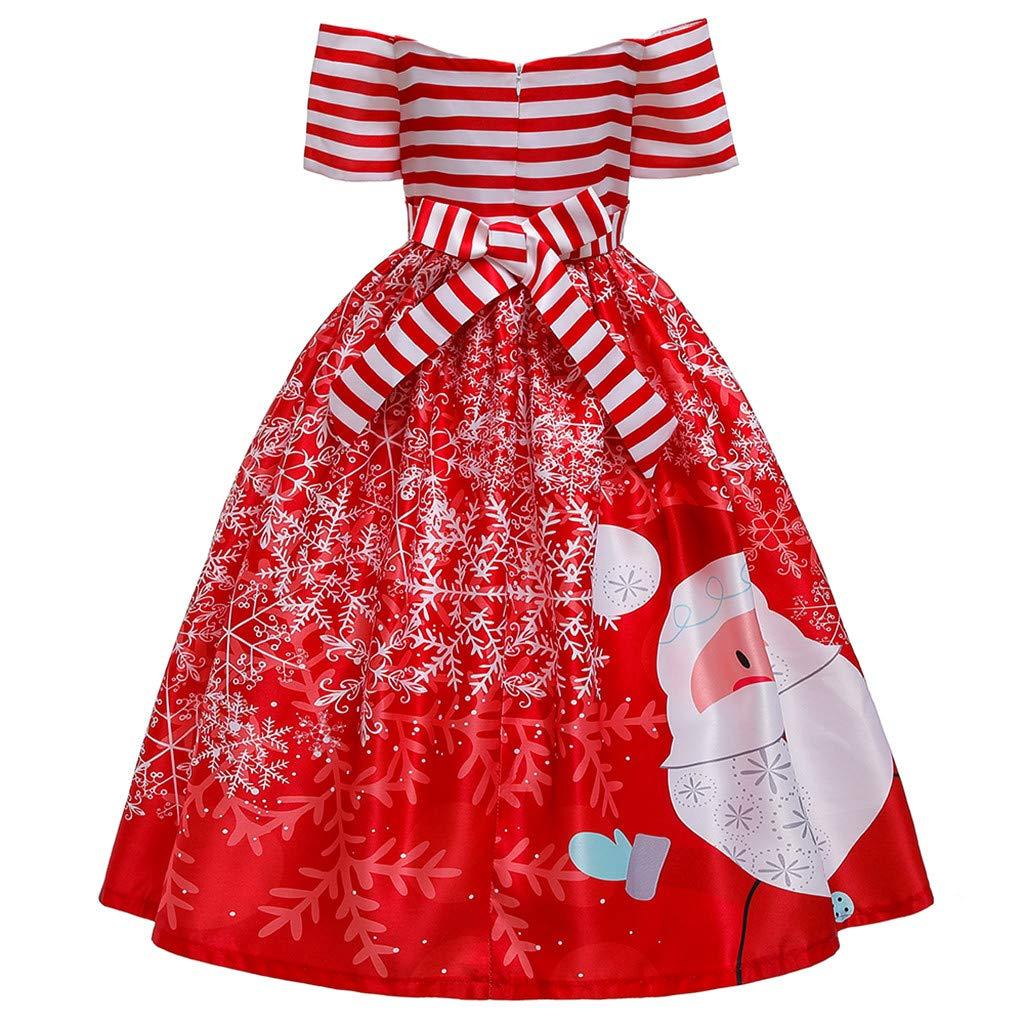 Patifia Kinder Kleinkind M/ädchen Weihnachtskleid Eine Schulter Kurzarm Streifen Karikatur Weihnachtsmann Drucken Prinzessin Kleid Festzug Weihnachtsfeier Hochzeitskleid Ballkleid Kleider