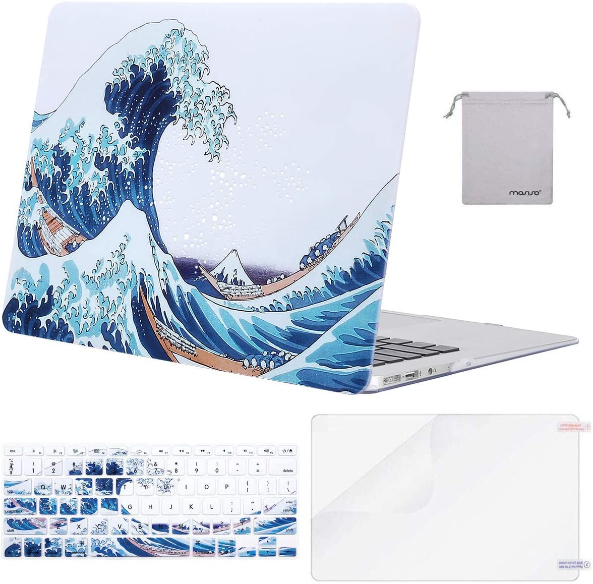 MOSISO MacBook Air 13 inch Case(A1369 A1466, Older Version 2010-2017 Release),Plastic Pattern Hard Case&Keyboard Cover&Screen Protector&Storage Bag Compatible with MacBook Air 13, Sea Wave White Base