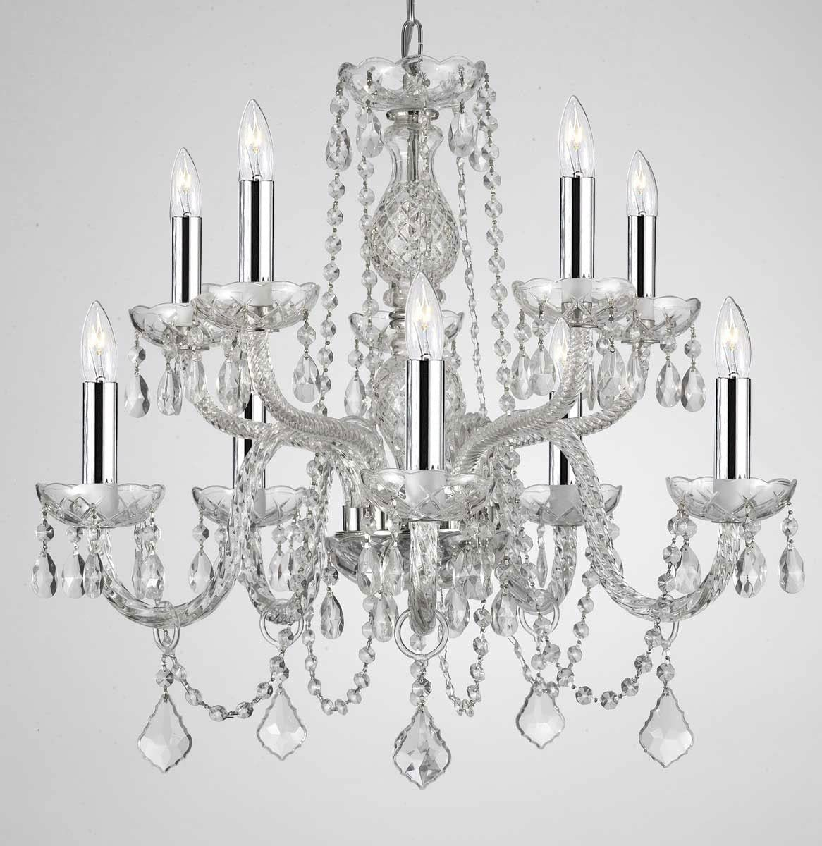 Empress Crystal tm Chandelier Lighting Crystal Chandeliers With Chrome Sleeves H25 X W24 10 LIGHTS