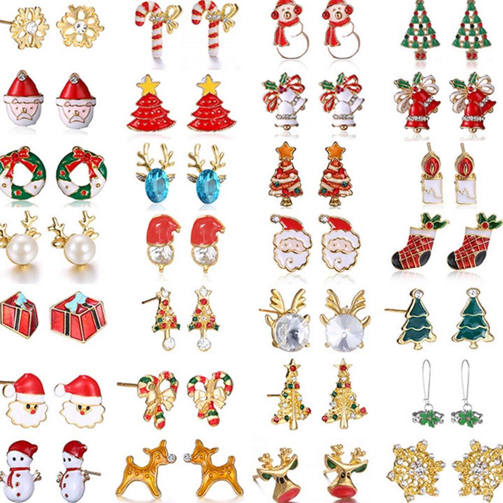 Hemore Cartoon Campane di Natale Orecchini Set Miscela Casuale di Paragrafo 6 Paia installati Rosso Natale Addobbi e Decorazioni per ricorrenze