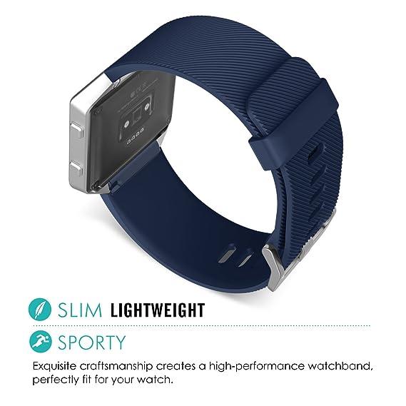 MoKo Correa para Fitbit Blaze, Soft Genuine Leather Replacement Strap with Lichee Pattern para Fitbit Blaze Smart Fitness Watch, Midnight Azul: Amazon.es: ...