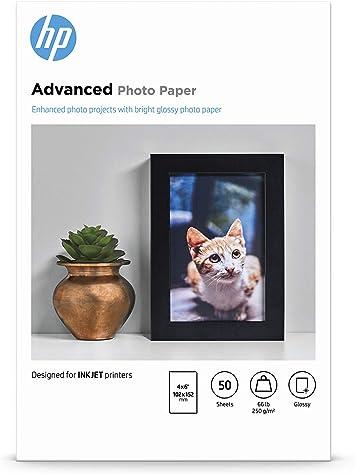 Amazon.com: Papel fotográfico avanzado de HP, Glossy (4 x 6 ...