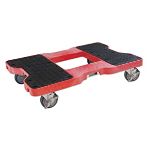 SNAP-LOC Dolly RED (USA!) with 1,500 lb. Capacity, Steel Frame, Strap Option, 4 inch casters
