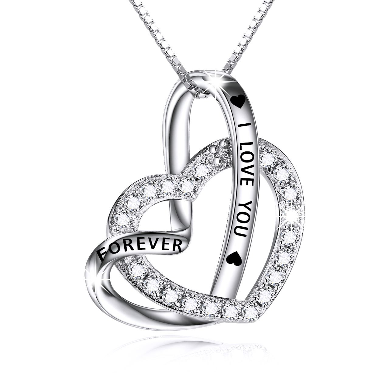 Cuoka Sterling Silver Double Heart Necklace Engraved I Love You Forever Pendant Gift for Her CZ Jewelry