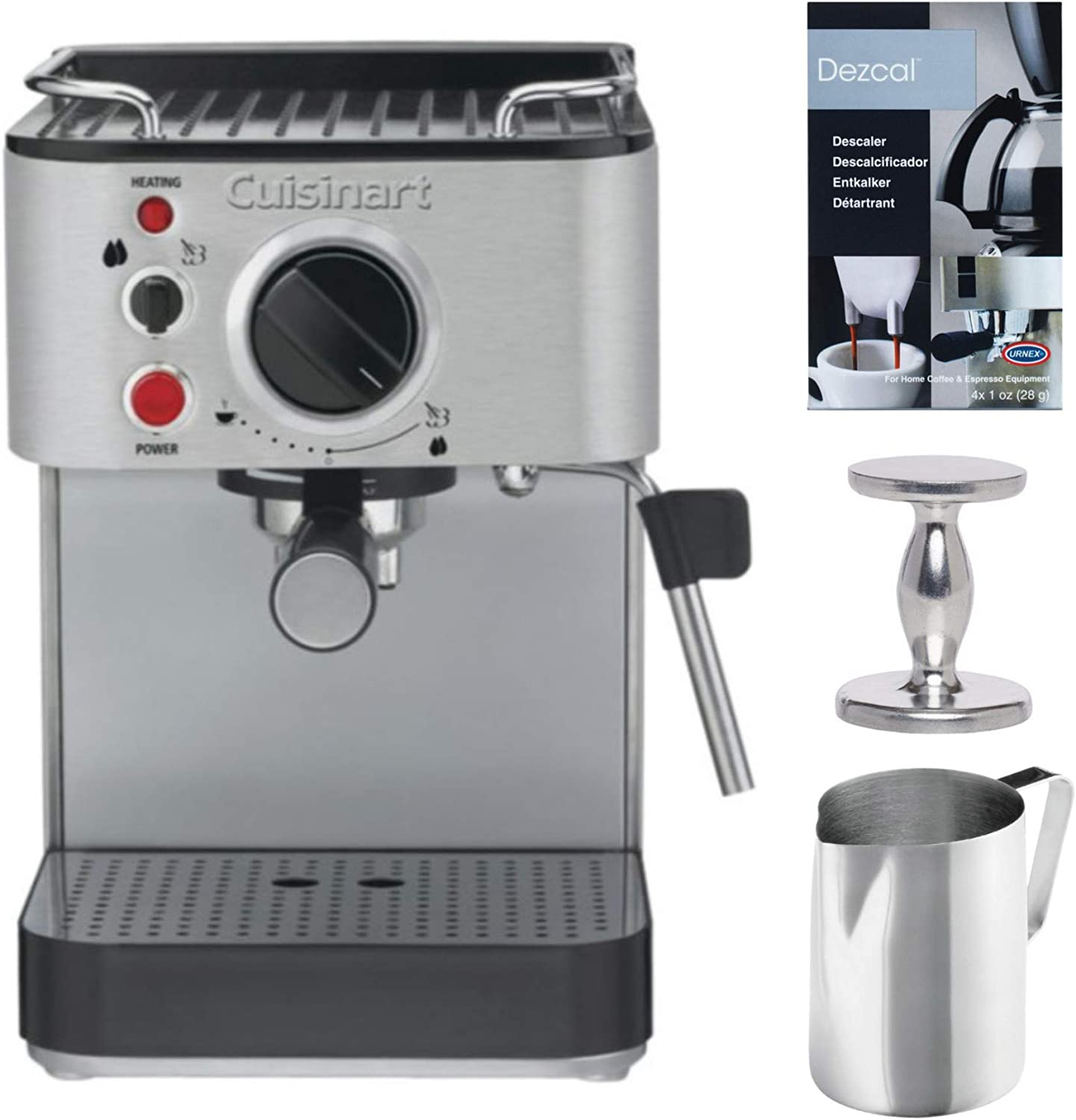 Cuisinart EM-100 Espresso Maker with Stainless Steel Frothing Pitcher, Handheld Tamper, and Descaling Powder Bundle (4 Items)