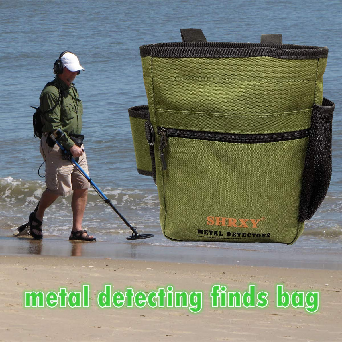shrxy Metal Detecting Finds Bag Waist Digger Pouch Tools Bag for PinPointer Garrett Detector Xp ProPointer Accessories ... (Green) by shrxy