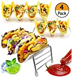 4 Pack - Taco Holder, Stainless Steel Taco Stand Rack | Party Platters and Serving Trays, 12 to 16 Space for Hard or Soft Shells