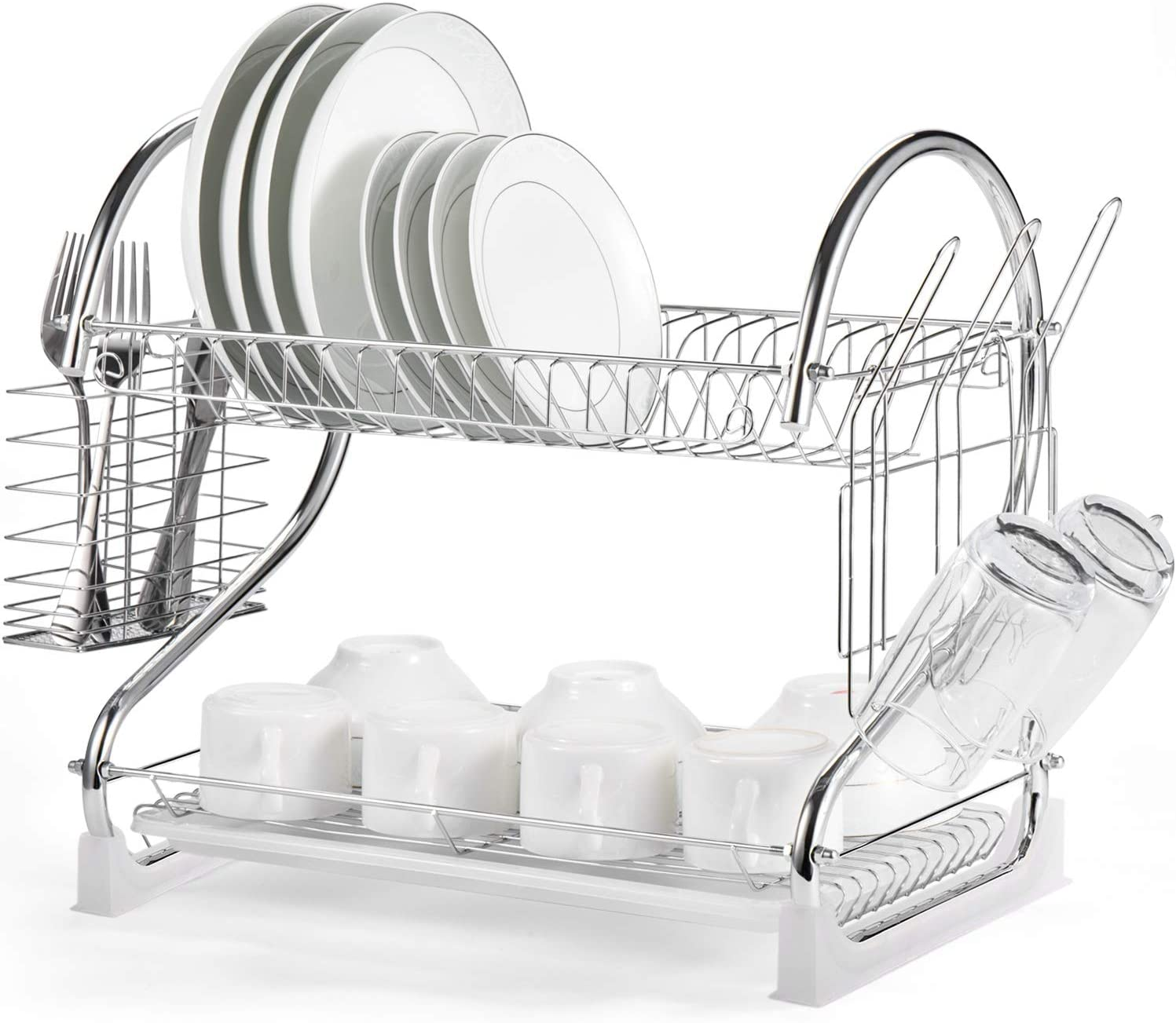 Dish Drying Rack, iSPECLE 2 Tier Dish Rack with Utensil Holder, Cutting Board Holder and Dish Drainer for Kitchen Counter Top, Plated Chrome Dish Dryer Silver 17.0 X 9.7 X 14.6 inch