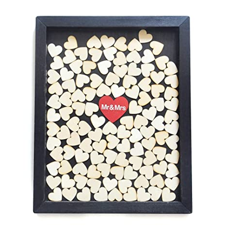 Wedding Drop Box Wedding Guestbook Black Frame With Red Heart Mr ...