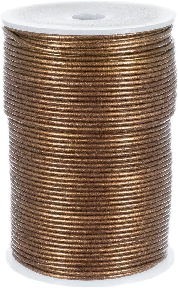 25 Yard Spool of Round Leather Cord Kansas, 3mm