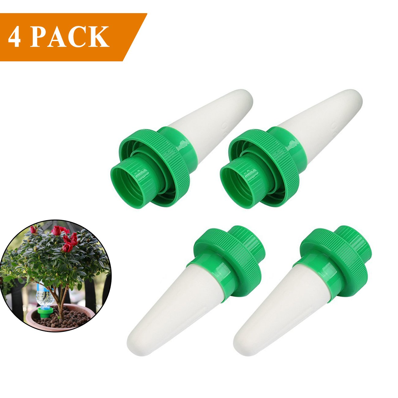DUTISON Automatic Plant Waterer, Ceramic Plant Watering Devices/Vacation Plant Waterers, Self Irrigation Watering Stakes Slow Release System for Indoor&Outdoor Garden Use- 4 Pack by DUTISON
