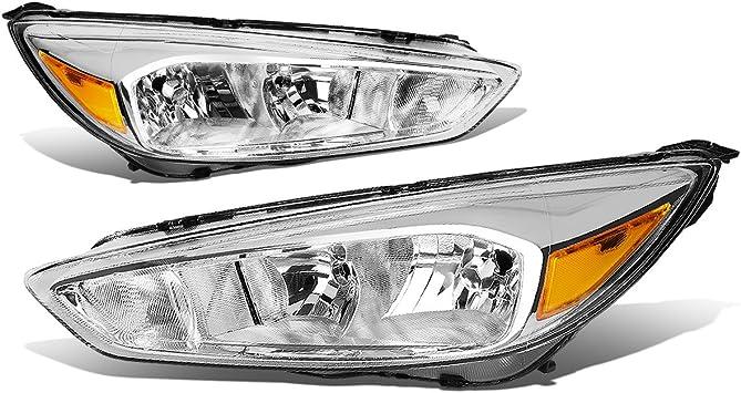 Black Housing Headlight Clear Lens Turn Signal Reflector for 15-18 Ford Focus