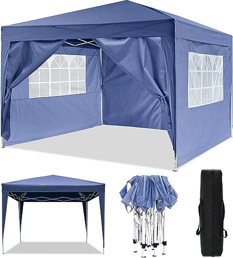 Cenador plegable 3 x 3 m / 3 x 6 m, resistente al agua, para jardín, para fiestas, festivales, gazebo plegable, protección solar., color azul, tamaño ...