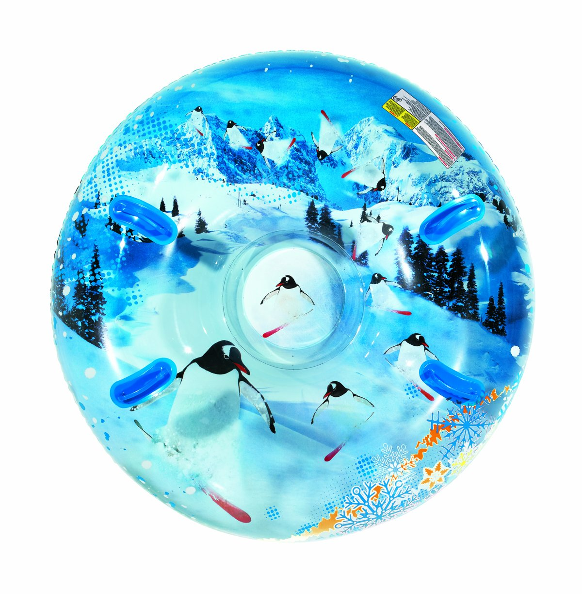 Aqua Leisure Uncle Bob's Winter Inflatable Round Air Penguin Snow Tube Sled for 2 (Two) Riders on Sledding Hill, Fast yet Safe, with 4 (Four) Big Durable Grip Handles and Repair Kit, 48''