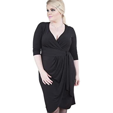 Emily London Womens Plus Size Isabella Jersey Curve Wrap Dress Black