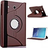MOCA' 360° Degree Rotating (Swivel Stand) PU Leather Folio Flip Cover case For SamSung Galaxy Tab E 9.6 inch SM-T561 T560 T565 Flip Cover Case (Coffee Brown)