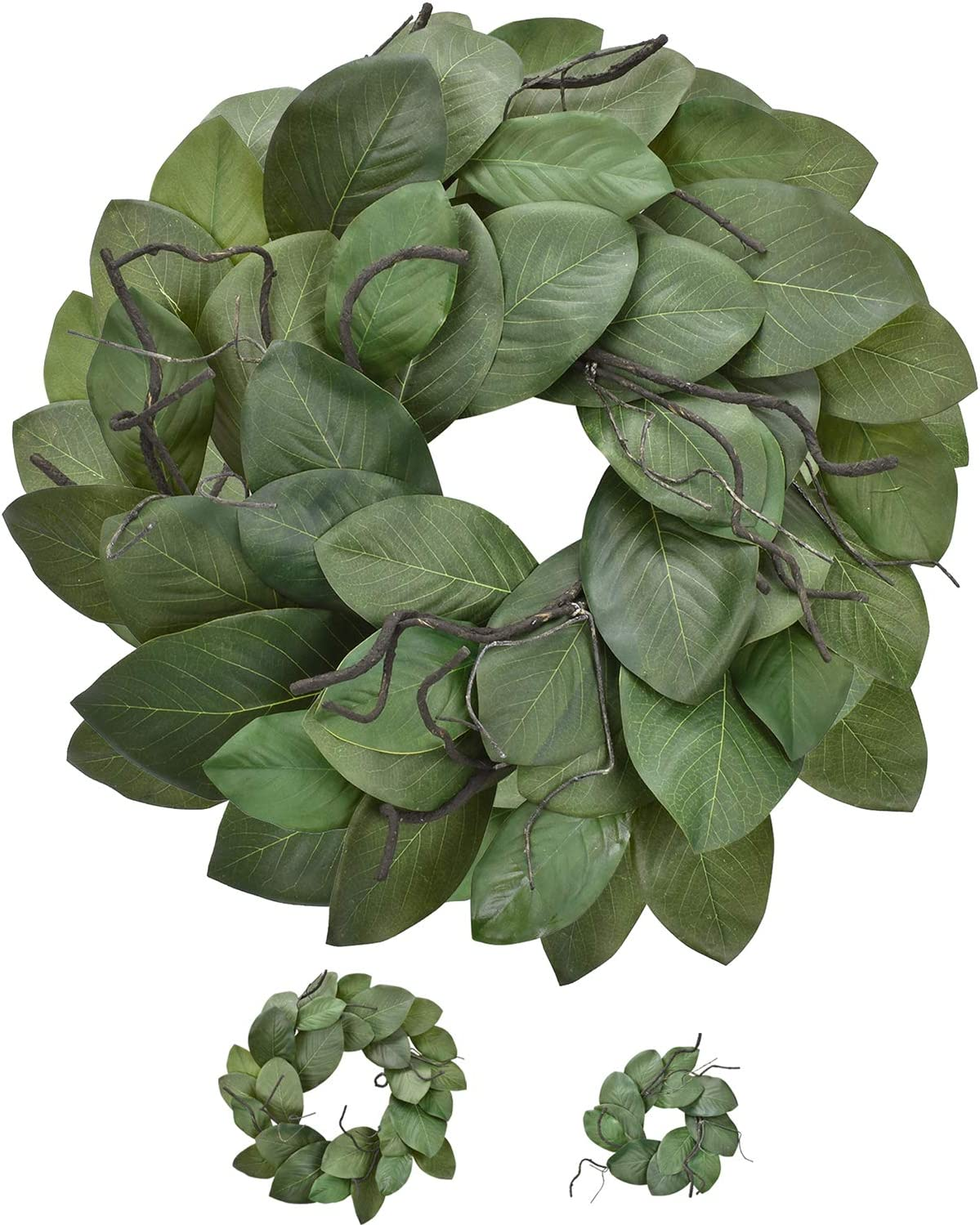Cloris Art Wreath for Christmas, Magnolia Leaves Front Door Wreaths Artificial 22 + 16.6 Inch for Farmhouse Home Party Holiday Indoor Outdoor Wall Decor(Green)