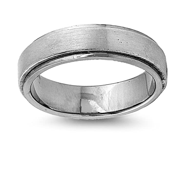 Amazon.com: Anillo de Titanio con un simple Flat Raised de ...