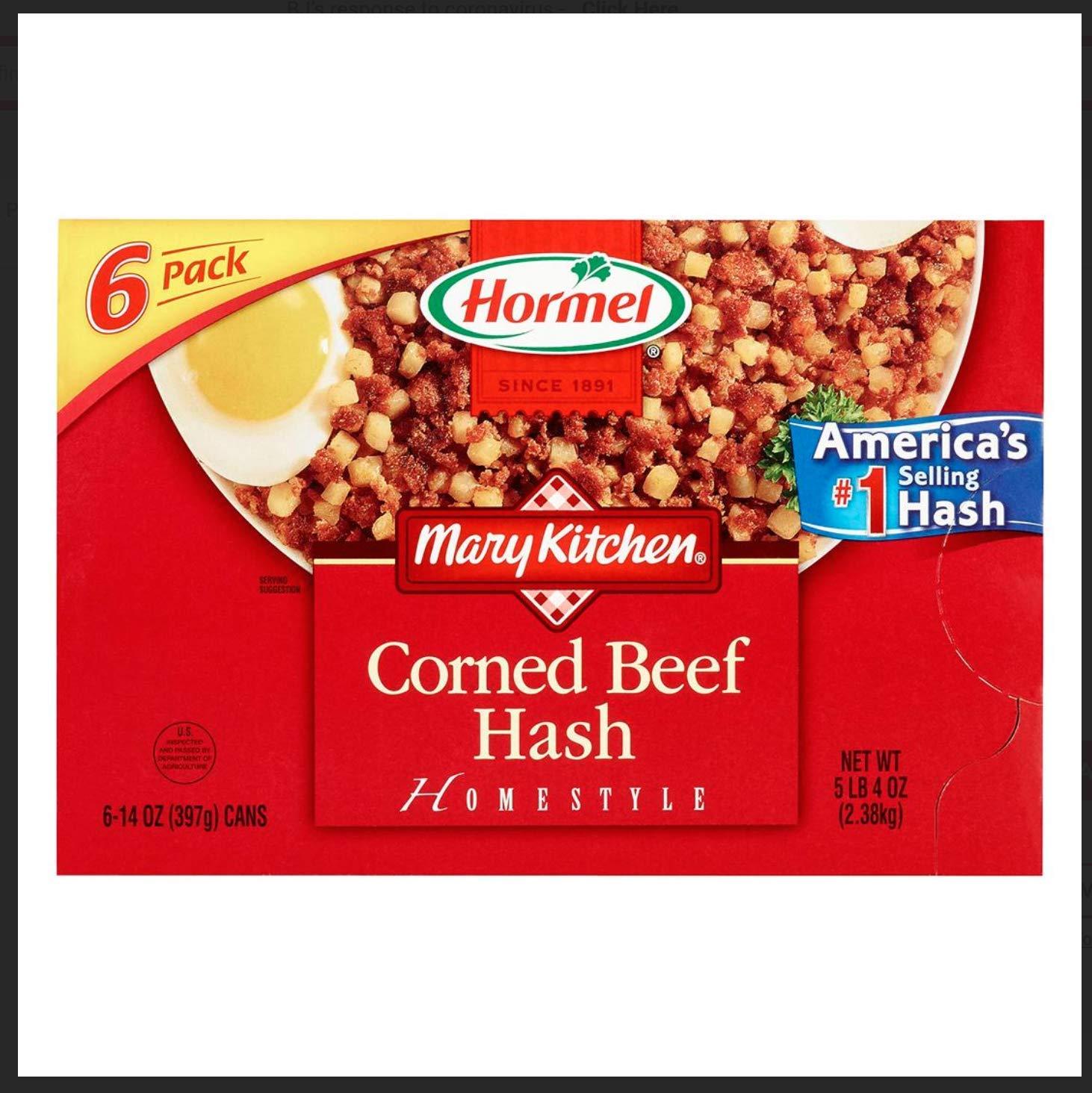 Hormel Mary's Kitchen Corned Beef Hash, 6 pk./14 oz