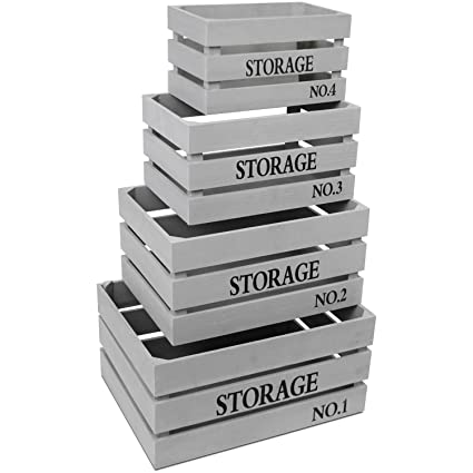 Cajas Set Storage gris caja de madera decorativa caja caja para guardar fruta