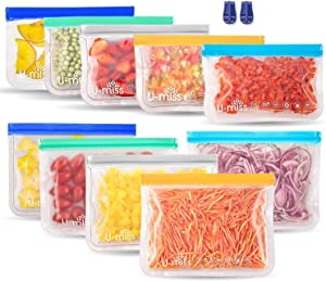Reusable Storage Bags, BPA -Free & Freezer Bags, Leakproof Storage Bag for Food, Travel, Home Organization (10 Pack - 5 Sandwich 5 lunch)